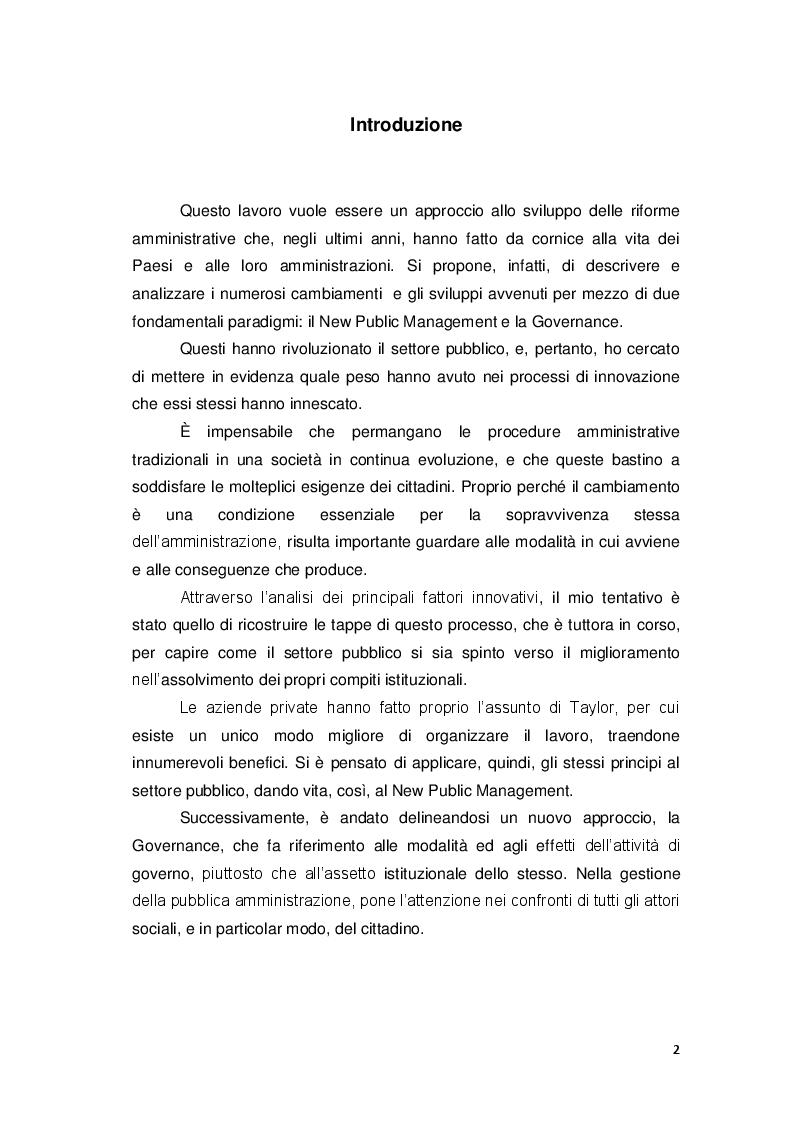 Anteprima della tesi: Gli approcci più recenti sulle politiche di riforma amministrativa. New Public Management e Governance, Pagina 2