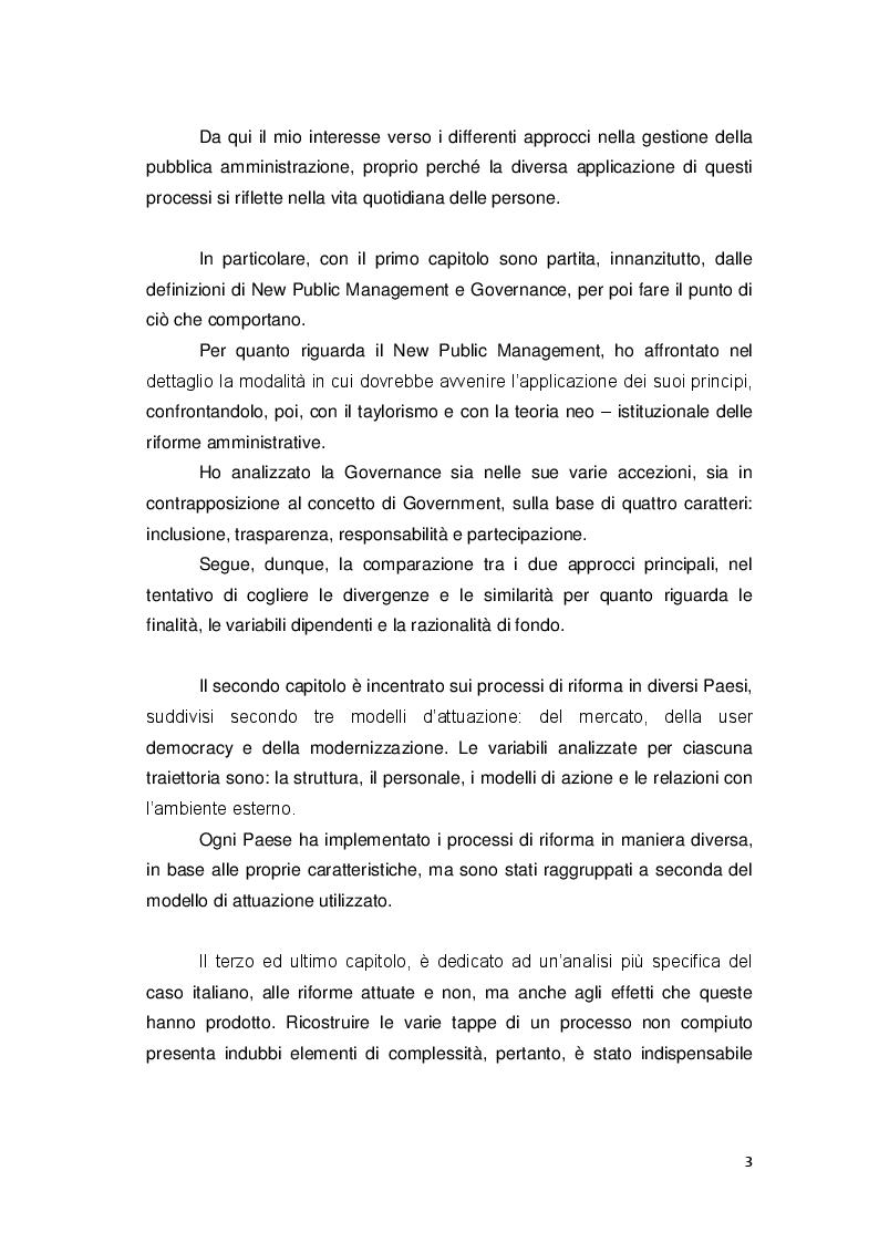 Anteprima della tesi: Gli approcci più recenti sulle politiche di riforma amministrativa. New Public Management e Governance, Pagina 3