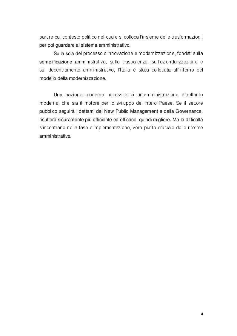 Anteprima della tesi: Gli approcci più recenti sulle politiche di riforma amministrativa. New Public Management e Governance, Pagina 4