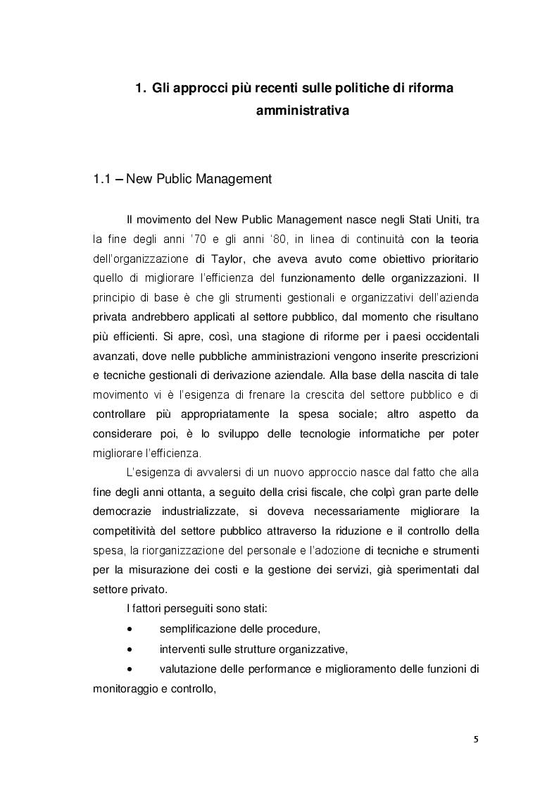 Anteprima della tesi: Gli approcci più recenti sulle politiche di riforma amministrativa. New Public Management e Governance, Pagina 5