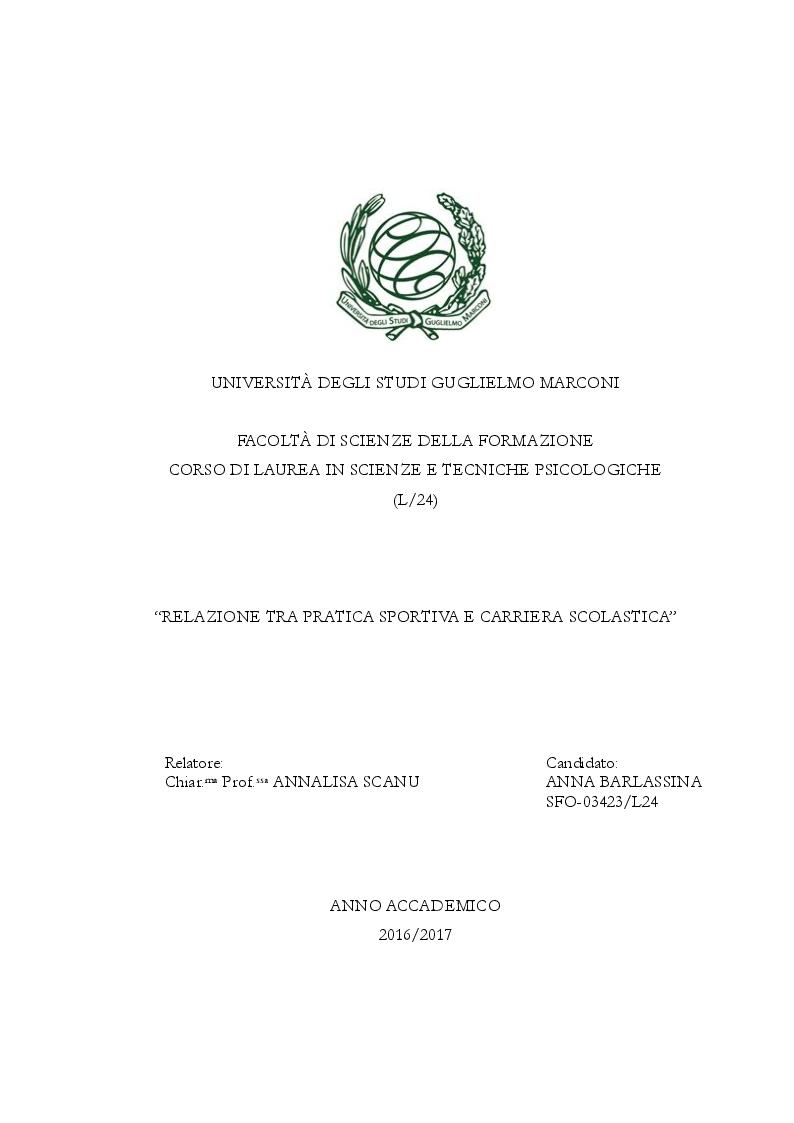 Anteprima della tesi: Relazione tra pratica sportiva e carriera scolastica, Pagina 1