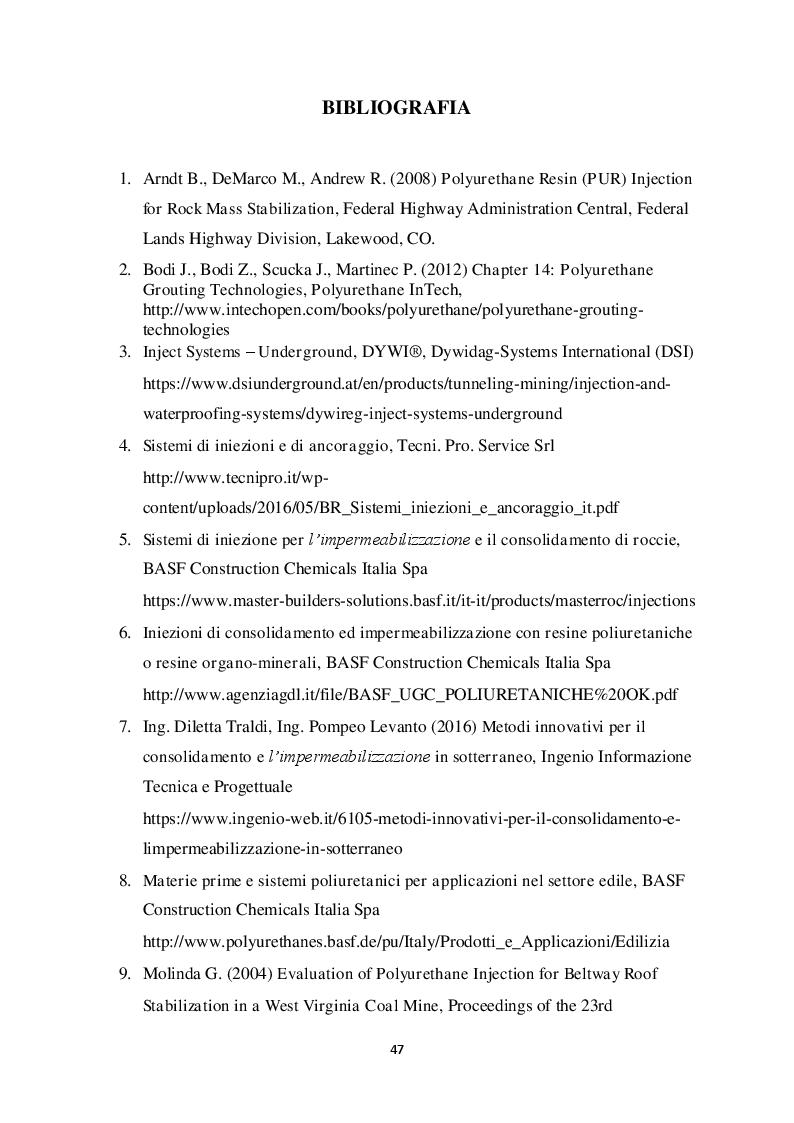 Estratto dalla tesi: Metodi di stabilizzazione di ammassi rocciosi mediante resine sintetiche