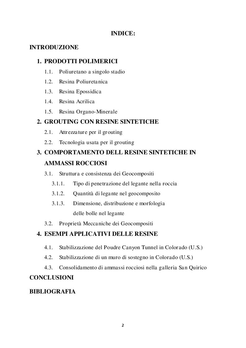 Indice della tesi: Metodi di stabilizzazione di ammassi rocciosi mediante resine sintetiche, Pagina 1