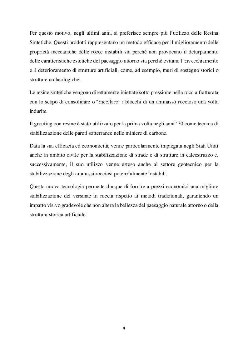 Anteprima della tesi: Metodi di stabilizzazione di ammassi rocciosi mediante resine sintetiche, Pagina 3
