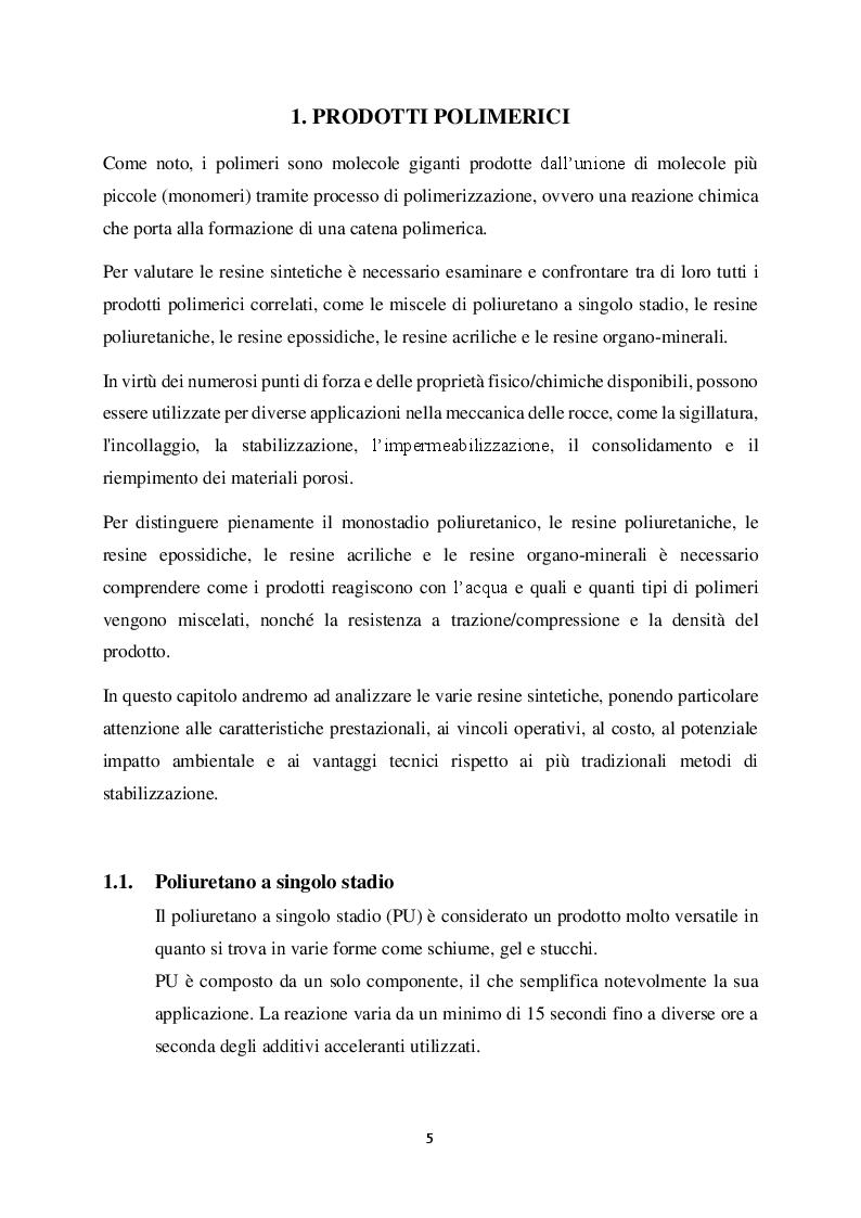 Anteprima della tesi: Metodi di stabilizzazione di ammassi rocciosi mediante resine sintetiche, Pagina 4