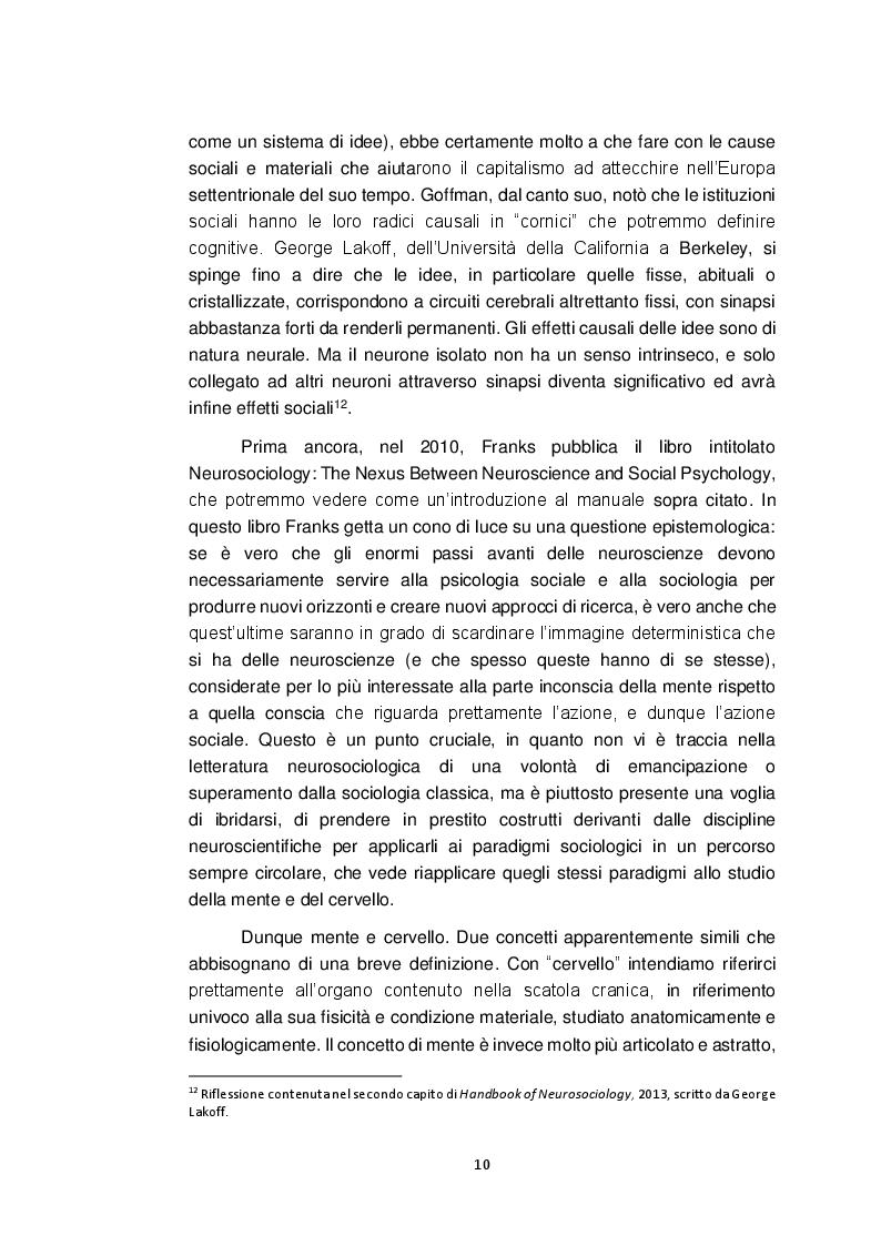 Estratto dalla tesi: Neurosociologia. Un nuovo approccio allo studio della società a confronto con i paradigmi sociologici