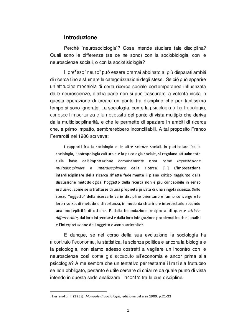 Anteprima della tesi: Neurosociologia. Un nuovo approccio allo studio della società a confronto con i paradigmi sociologici, Pagina 2