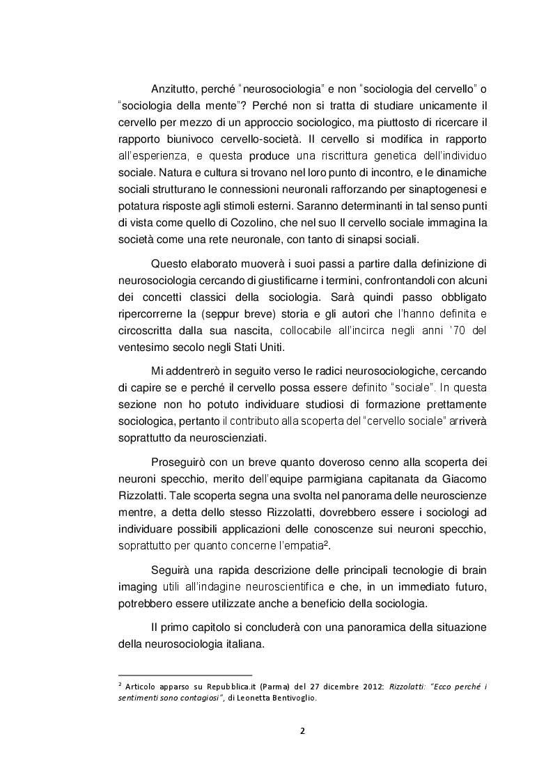 Anteprima della tesi: Neurosociologia. Un nuovo approccio allo studio della società a confronto con i paradigmi sociologici, Pagina 3