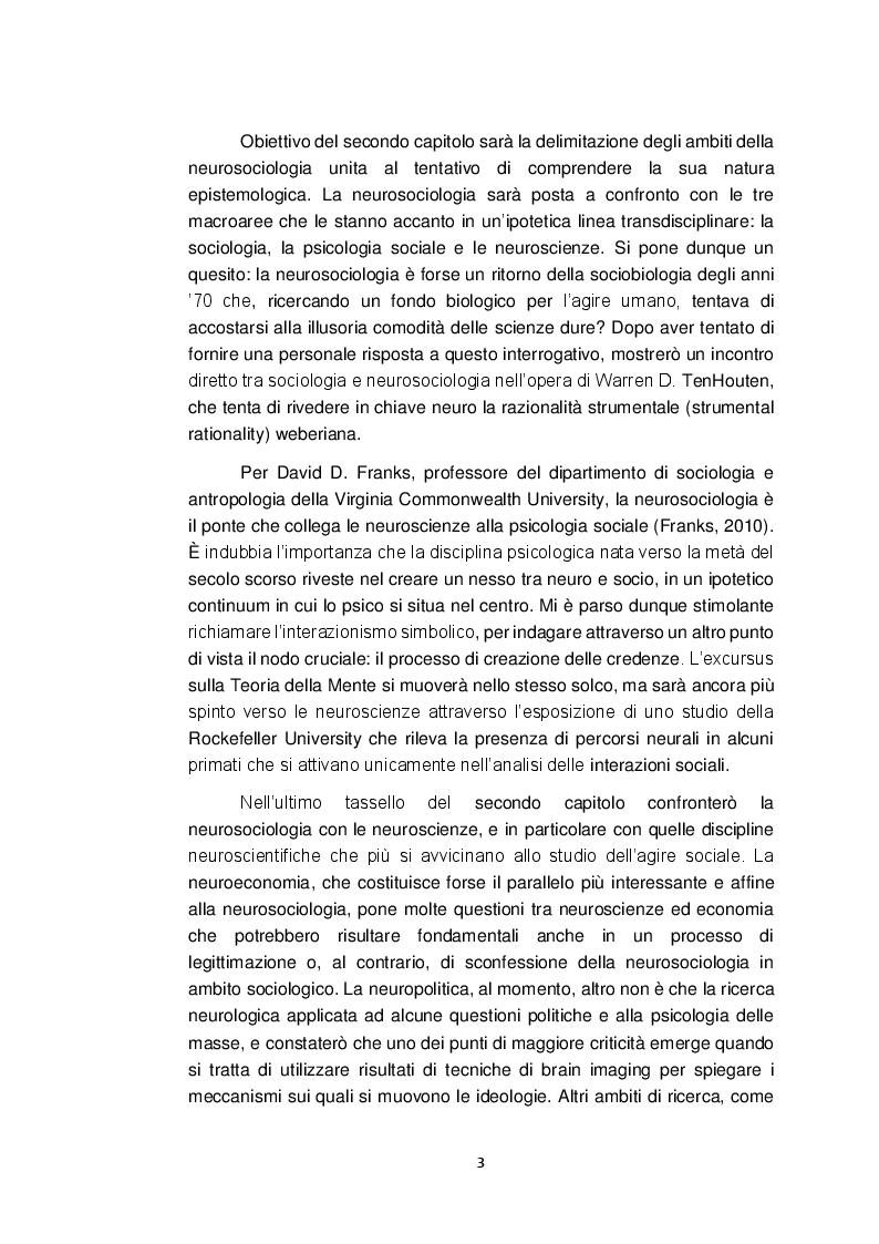 Anteprima della tesi: Neurosociologia. Un nuovo approccio allo studio della società a confronto con i paradigmi sociologici, Pagina 4