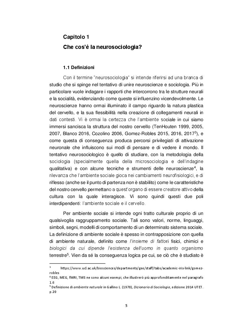 Anteprima della tesi: Neurosociologia. Un nuovo approccio allo studio della società a confronto con i paradigmi sociologici, Pagina 6