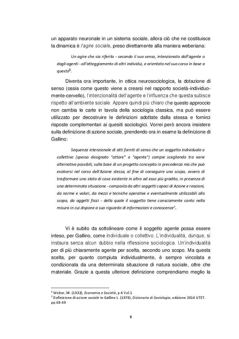 Anteprima della tesi: Neurosociologia. Un nuovo approccio allo studio della società a confronto con i paradigmi sociologici, Pagina 7