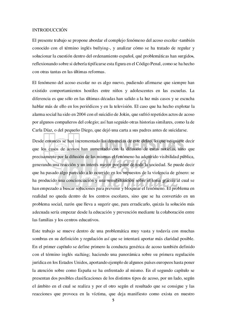 Anteprima della tesi: Una aproximación al análisis y al estudio del acoso escolar (Approccio all'analisi e allo studio del bullismo), Pagina 2