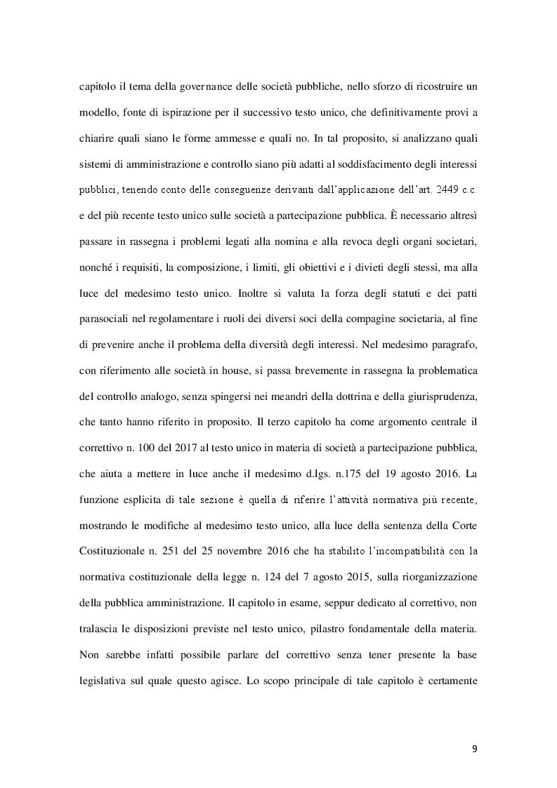 Anteprima della tesi: La governance delle società a controllo pubblico, Pagina 6