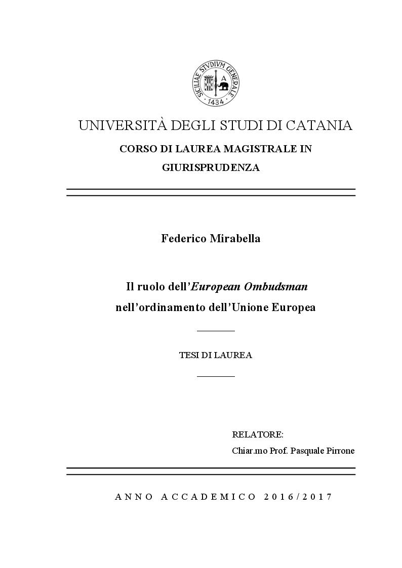 Anteprima della tesi: Il ruolo dell'European Ombudsman nell'Ordinamento dell'Unione Europea, Pagina 1