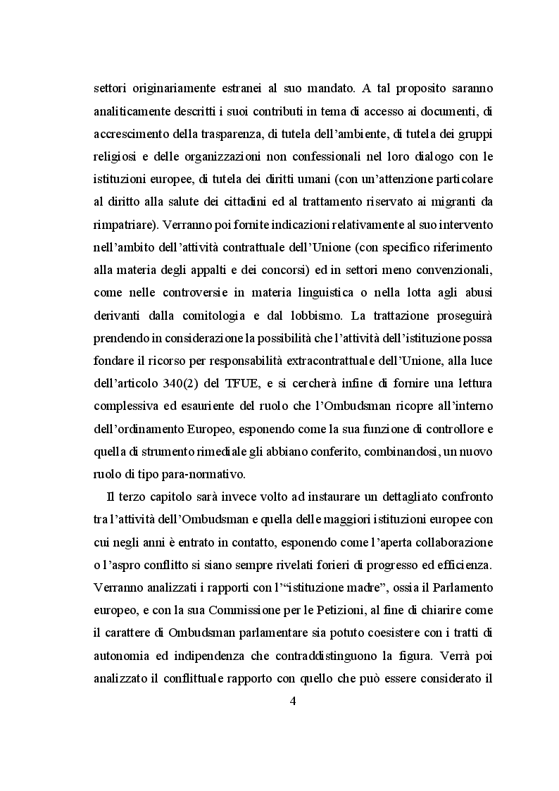 Anteprima della tesi: Il ruolo dell'European Ombudsman nell'Ordinamento dell'Unione Europea, Pagina 5
