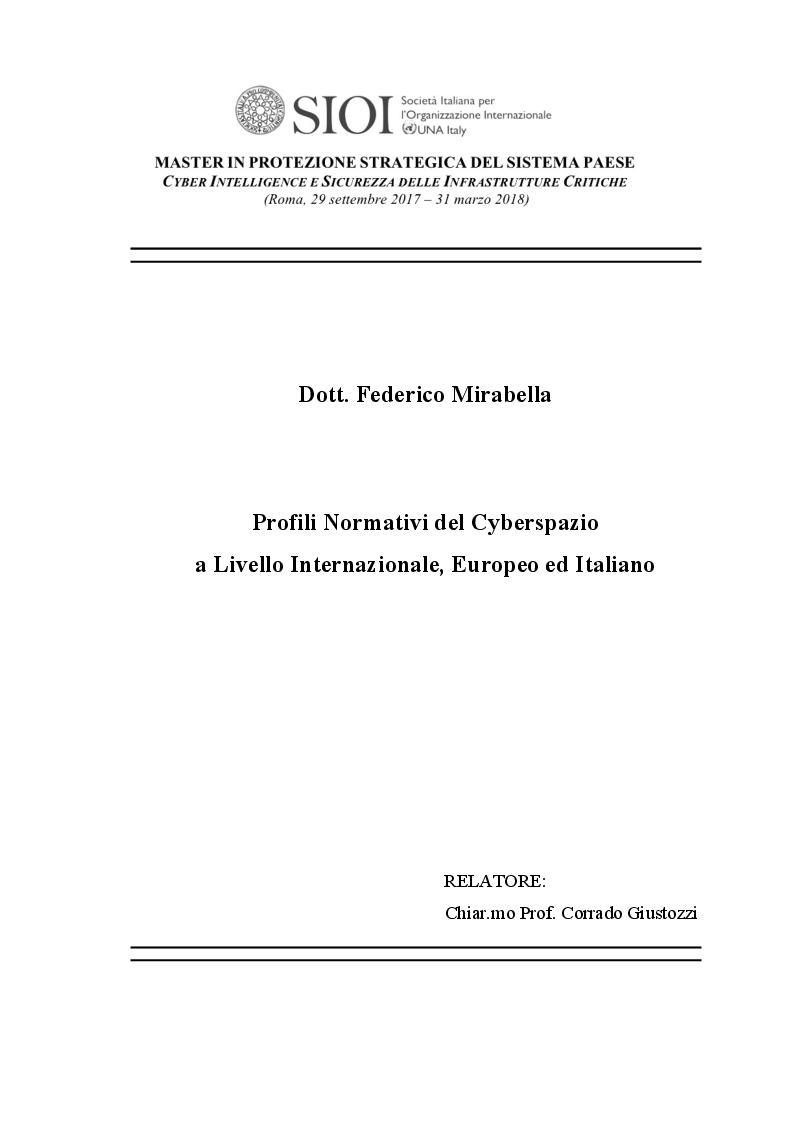 Anteprima della tesi: Profili Normativi del Cyberspazio a Livello Internazionale, Europeo ed Italiano, Pagina 1