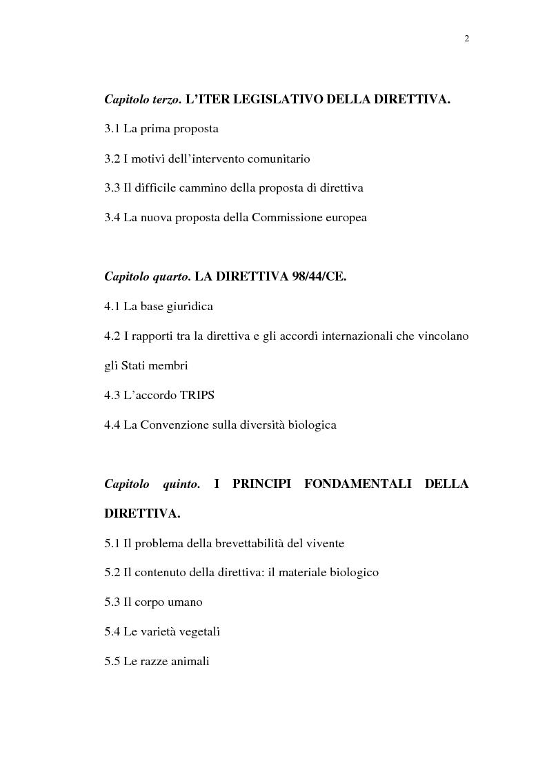Indice della tesi: La protezione giuridica delle invenzioni biotecnologiche: la direttiva 98/44/CE, Pagina 2
