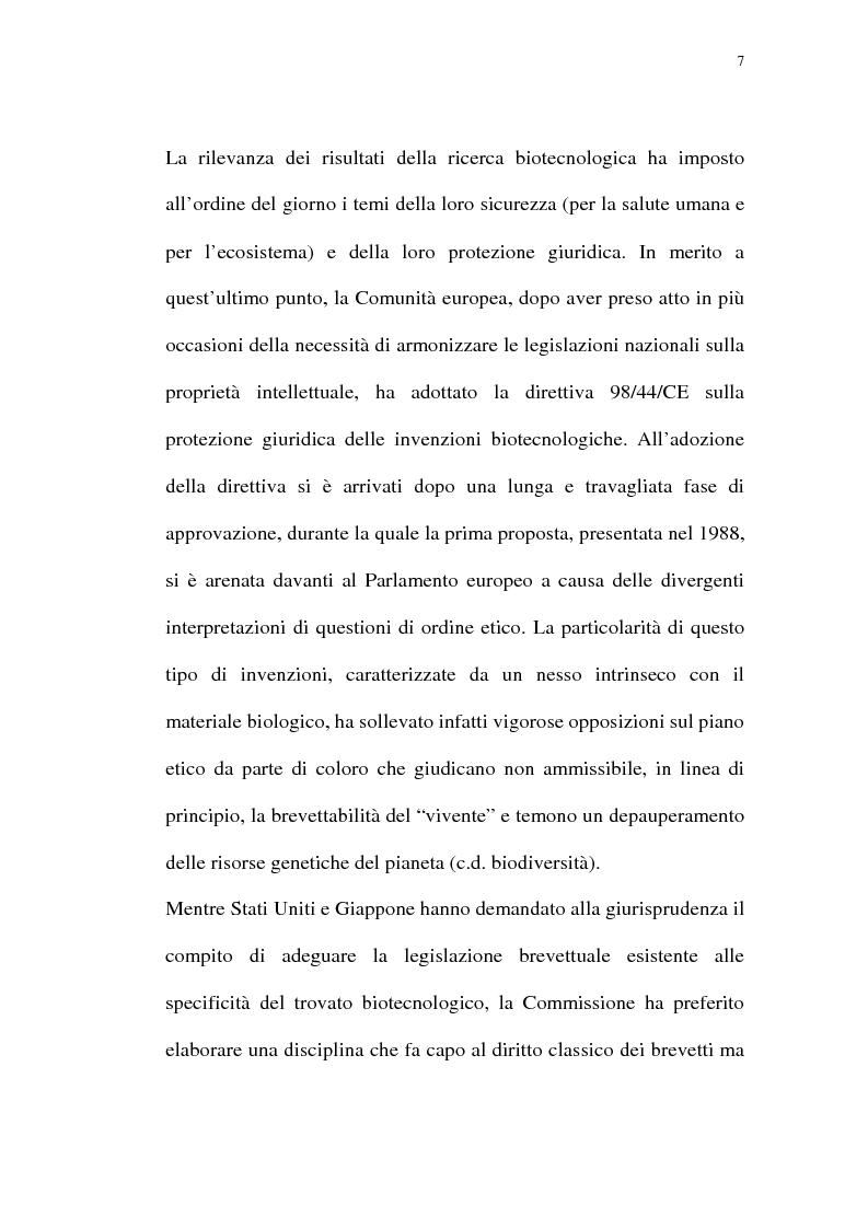 Anteprima della tesi: La protezione giuridica delle invenzioni biotecnologiche: la direttiva 98/44/CE, Pagina 3