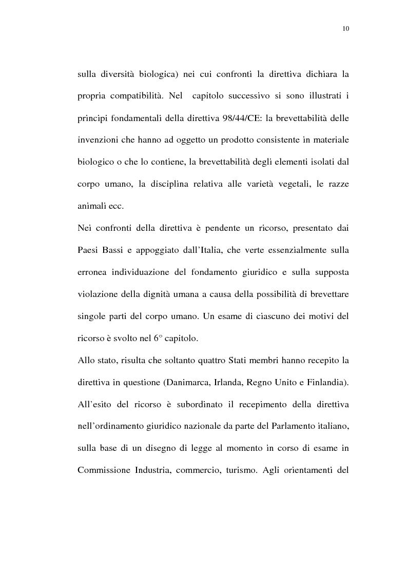 Anteprima della tesi: La protezione giuridica delle invenzioni biotecnologiche: la direttiva 98/44/CE, Pagina 6