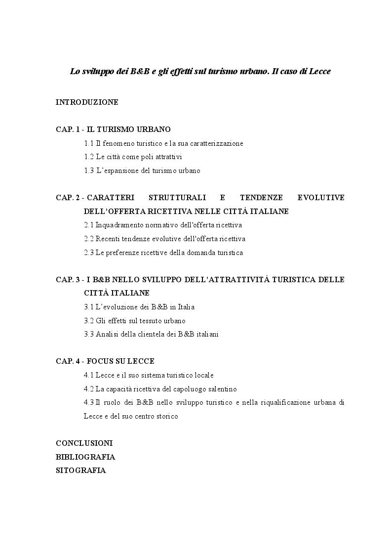Indice della tesi: Lo sviluppo dei Bed and Breakfast e gli effetti sul turismo urbano. Il caso di Lecce, Pagina 1
