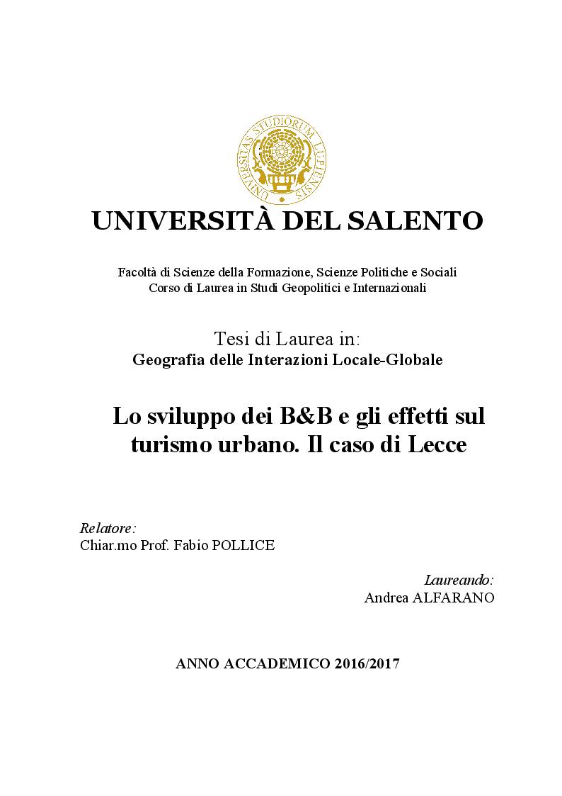 Anteprima della tesi: Lo sviluppo dei Bed and Breakfast e gli effetti sul turismo urbano. Il caso di Lecce, Pagina 1