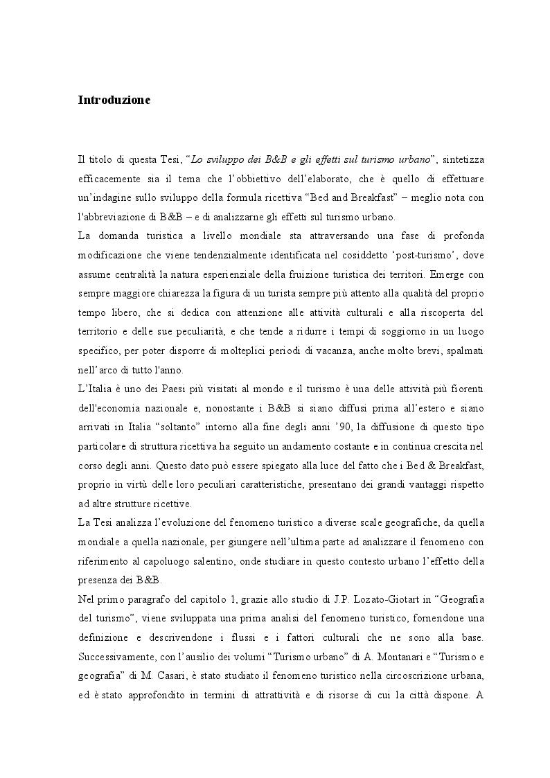 Anteprima della tesi: Lo sviluppo dei Bed and Breakfast e gli effetti sul turismo urbano. Il caso di Lecce, Pagina 2