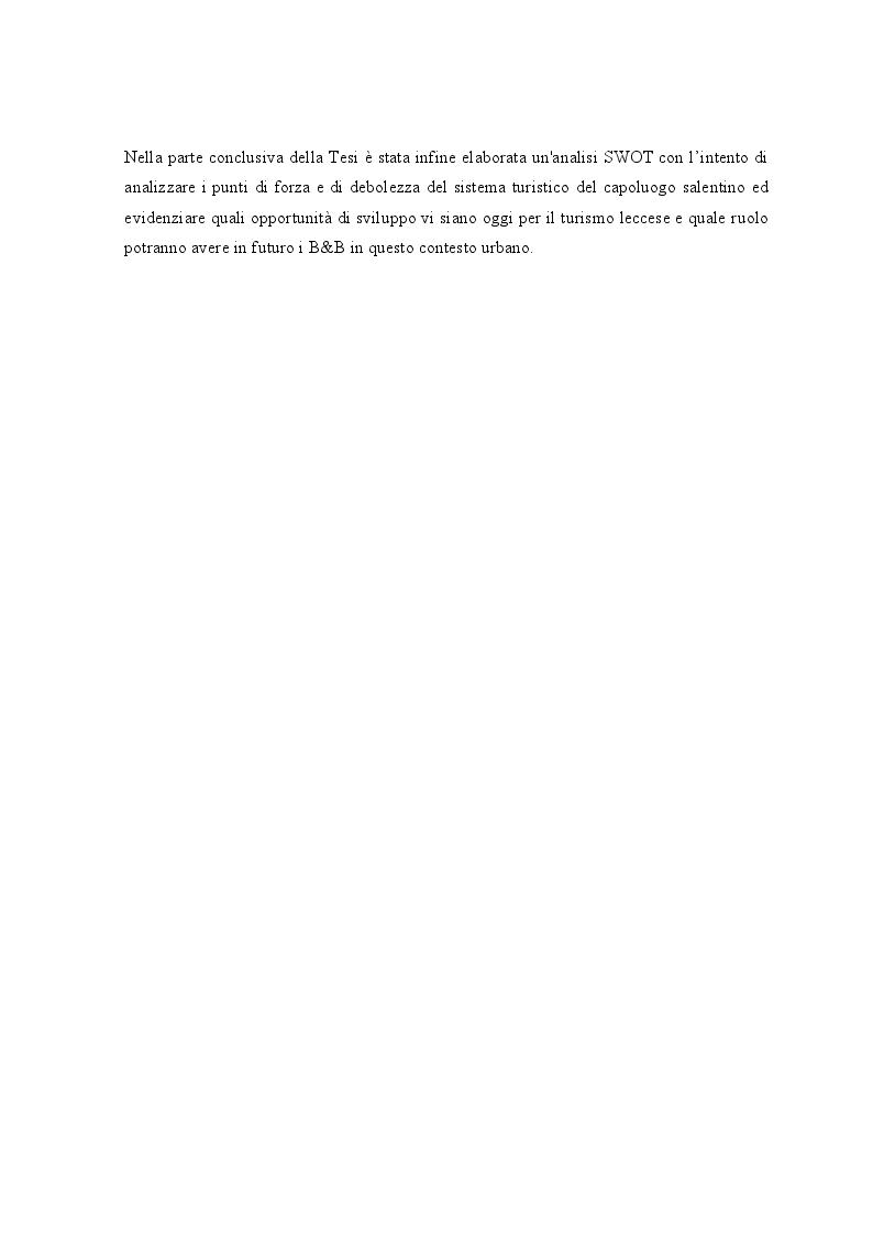 Anteprima della tesi: Lo sviluppo dei Bed and Breakfast e gli effetti sul turismo urbano. Il caso di Lecce, Pagina 4