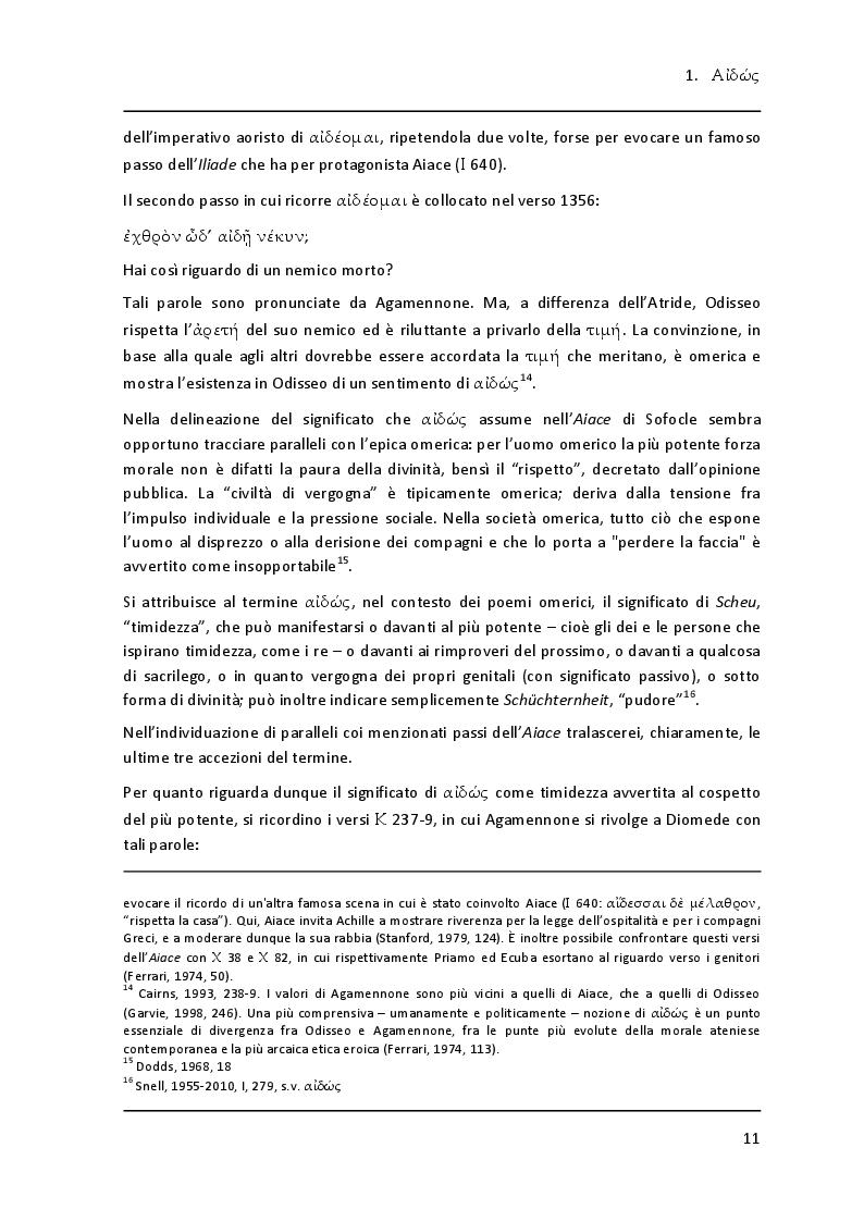 """Estratto dalla tesi: Lessico della vergogna nell' """"Aiace"""" di Sofocle"""
