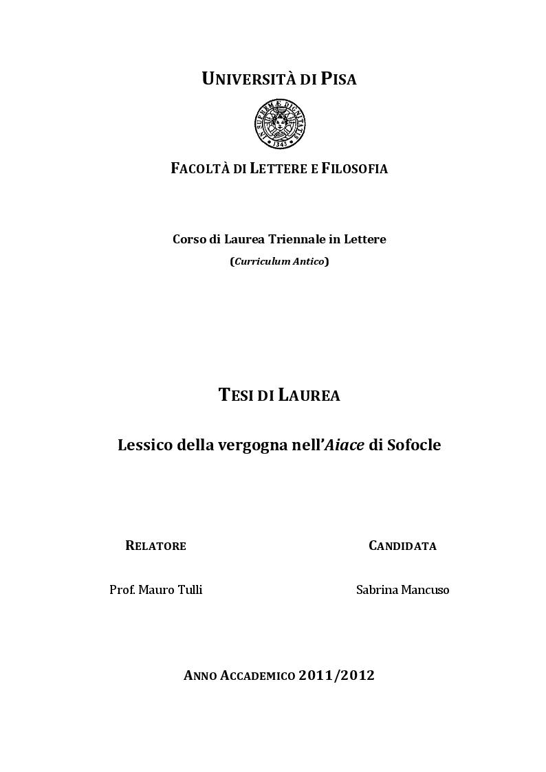 """Anteprima della tesi: Lessico della vergogna nell' """"Aiace"""" di Sofocle, Pagina 1"""