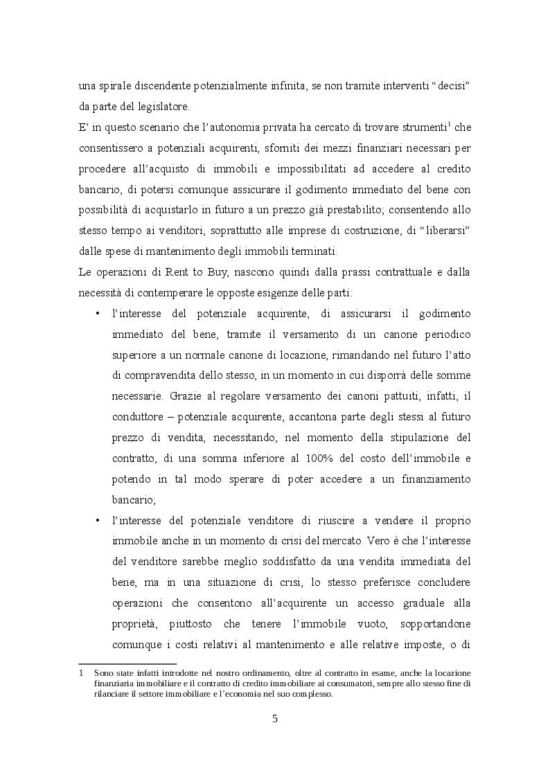 Anteprima della tesi: Profili civilistici e fiscali del Rent to Buy, Pagina 4