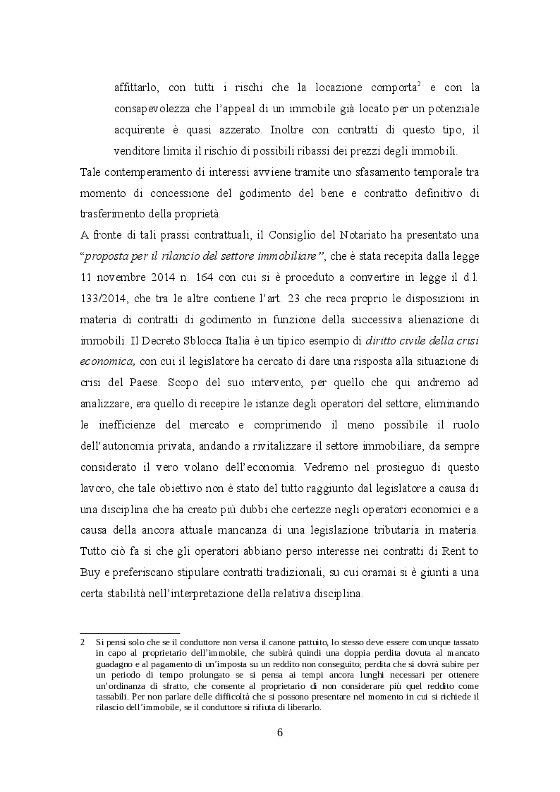 Anteprima della tesi: Profili civilistici e fiscali del Rent to Buy, Pagina 5