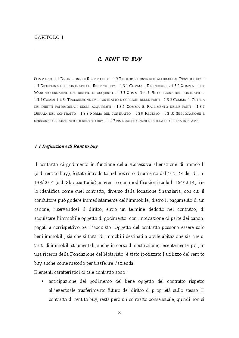 Anteprima della tesi: Profili civilistici e fiscali del Rent to Buy, Pagina 7