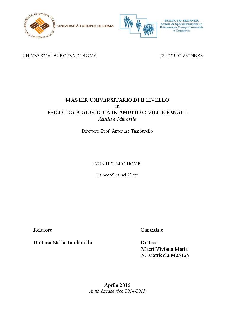 Anteprima della tesi: Non nel mio nome. La pedofilia nel clero., Pagina 1