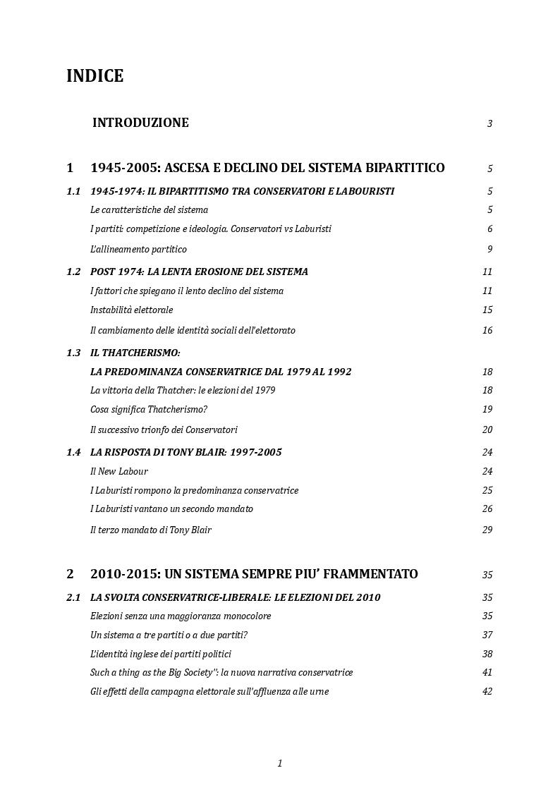 Indice della tesi: Elezioni e partiti in Gran Bretagna: l'evoluzione del sistema partitico alla luce delle elezioni del 2017, Pagina 1