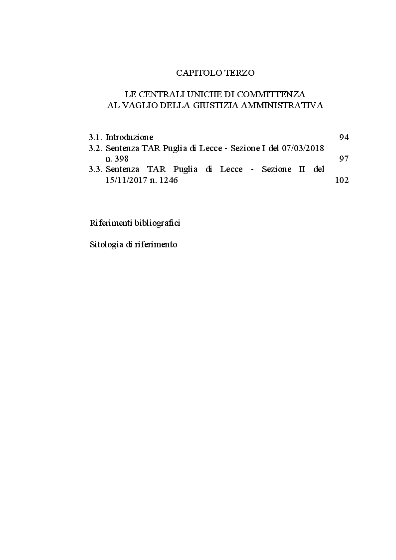 Indice della tesi: Il ruolo delle Centrali Uniche di Committenza nel Settore degli Appalti Pubblici, Pagina 2