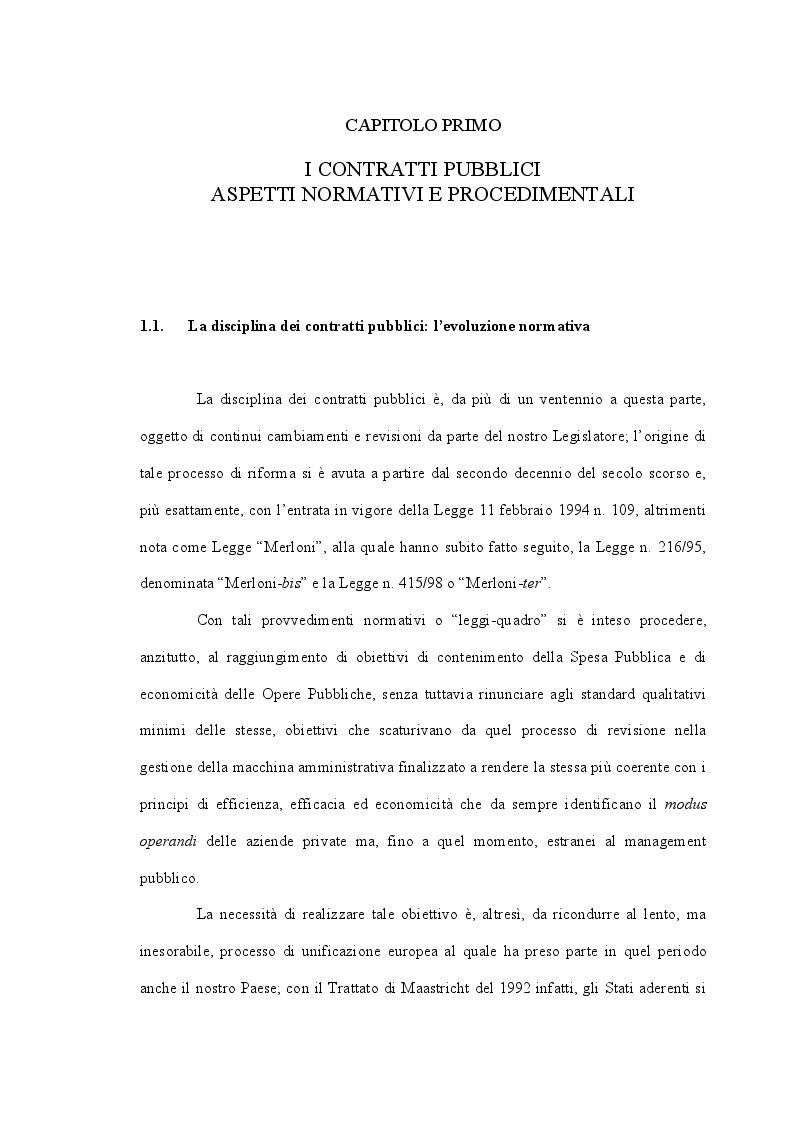 Anteprima della tesi: Il ruolo delle Centrali Uniche di Committenza nel Settore degli Appalti Pubblici, Pagina 5