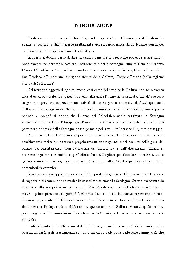 Anteprima della tesi: Il territorio costiero della Sardegna nord-orientale nell'Età del Bronzo. I comuni di San Teodoro, Budoni, Posada e Torpè., Pagina 2