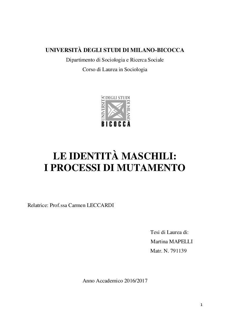 Anteprima della tesi: Le identità maschili: i processi di mutamento, Pagina 1