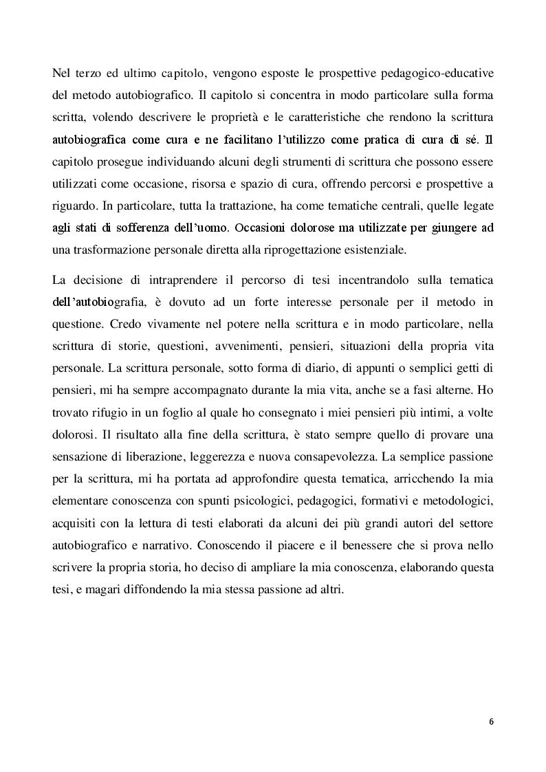 Anteprima della tesi: Il metodo autobiografico come strumento per la ri-progettazione esistenziale, Pagina 3