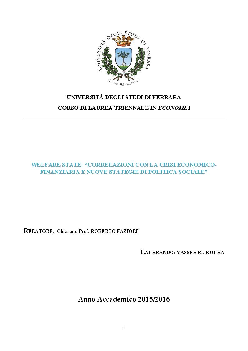 Anteprima della tesi: Welfare State: Correlazioni con la crisi economico-finanziaria e nuove strategie di politica sociale, Pagina 1
