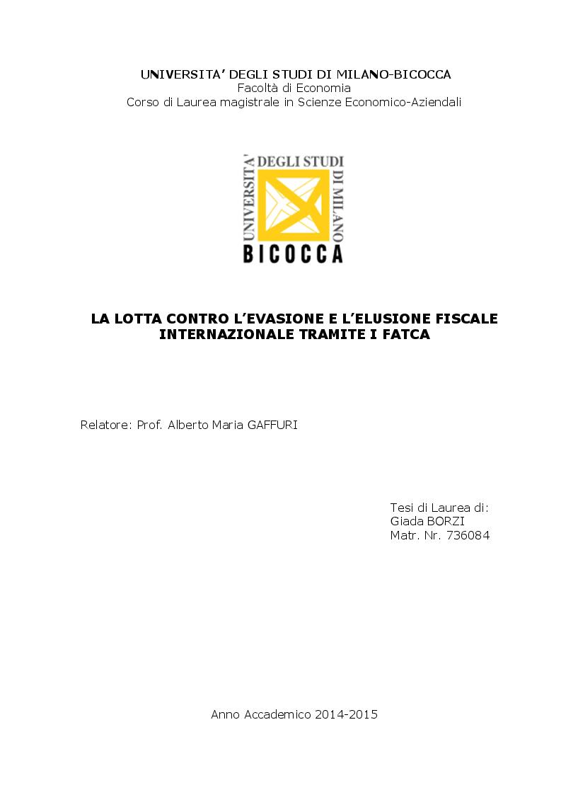 Anteprima della tesi: La lotta contro l'evasione e l'elusione fiscale internazionale tramite i FATCA, Pagina 1