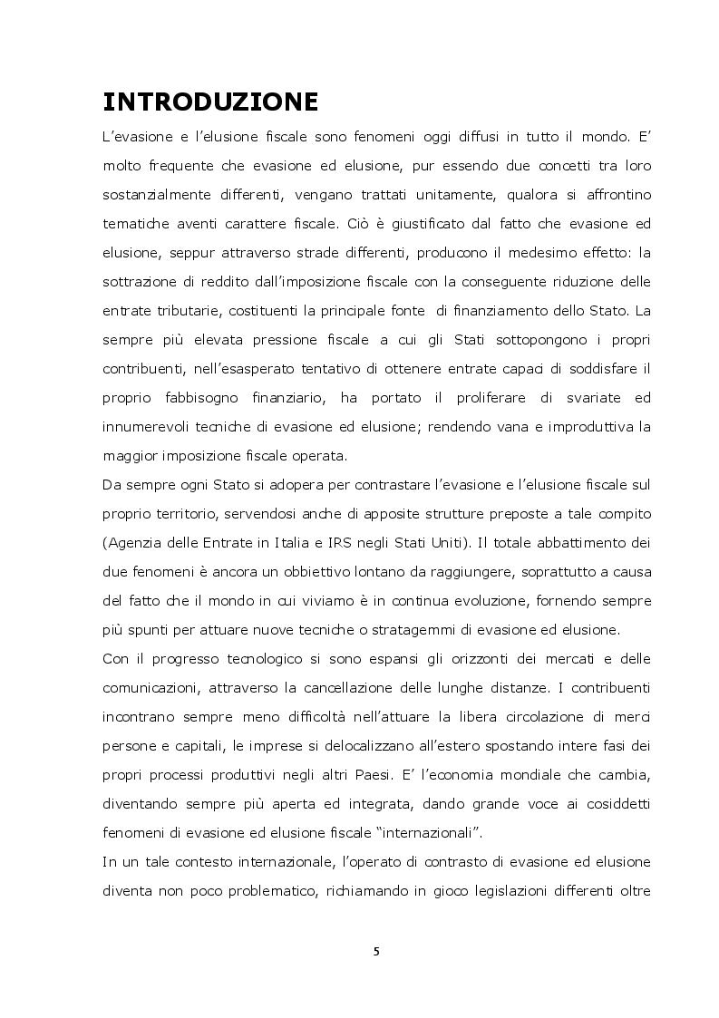 Anteprima della tesi: La lotta contro l'evasione e l'elusione fiscale internazionale tramite i FATCA, Pagina 4