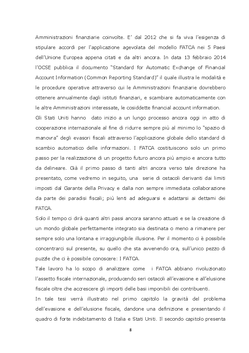 Anteprima della tesi: La lotta contro l'evasione e l'elusione fiscale internazionale tramite i FATCA, Pagina 7