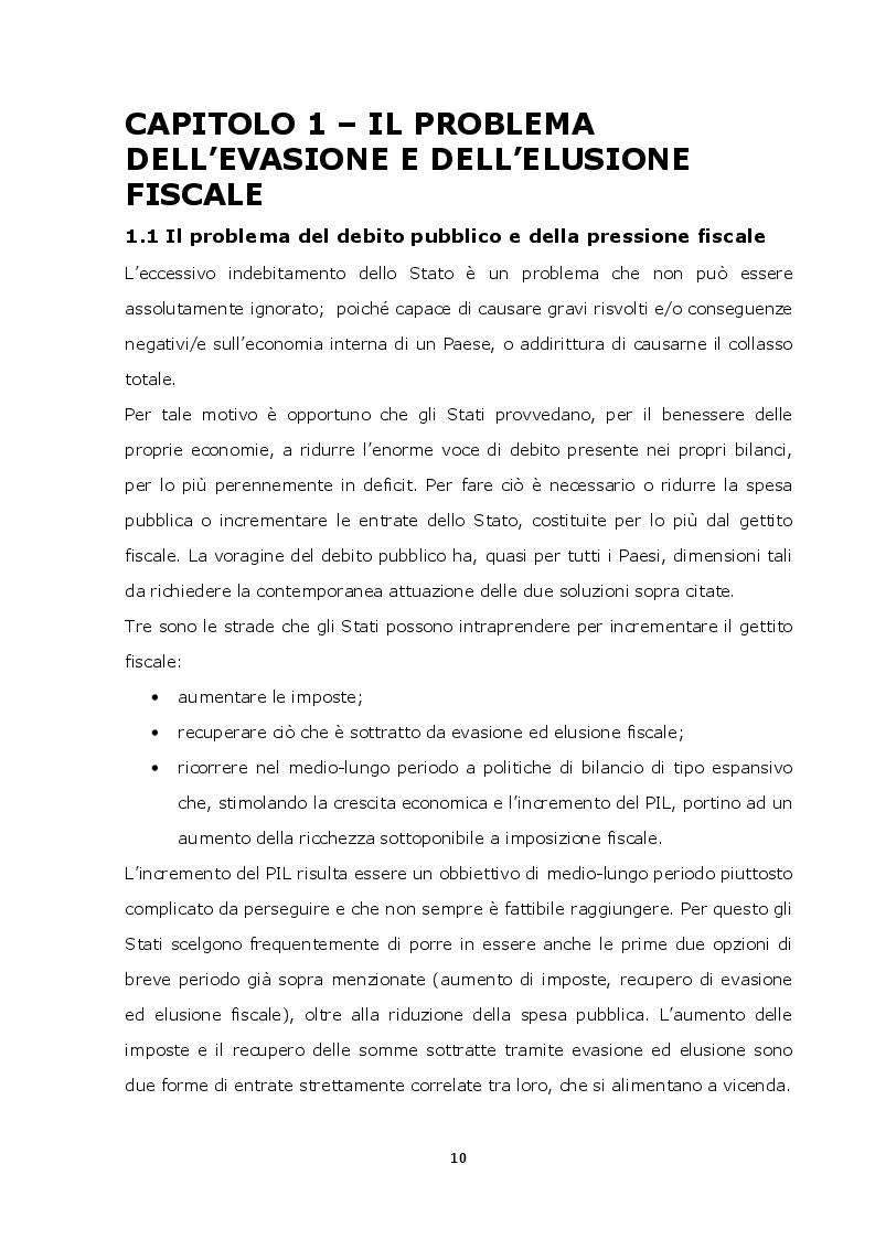Anteprima della tesi: La lotta contro l'evasione e l'elusione fiscale internazionale tramite i FATCA, Pagina 9