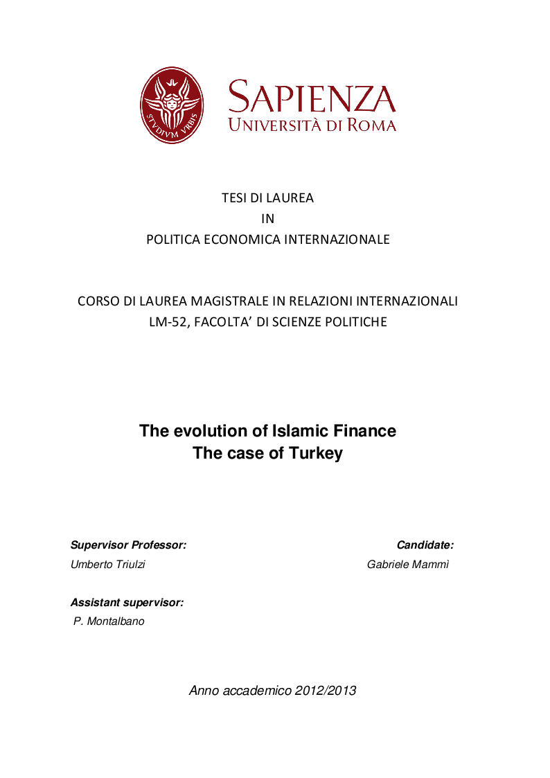 Anteprima della tesi: The evolution of Islamic Finance. The case of Turkey, Pagina 1