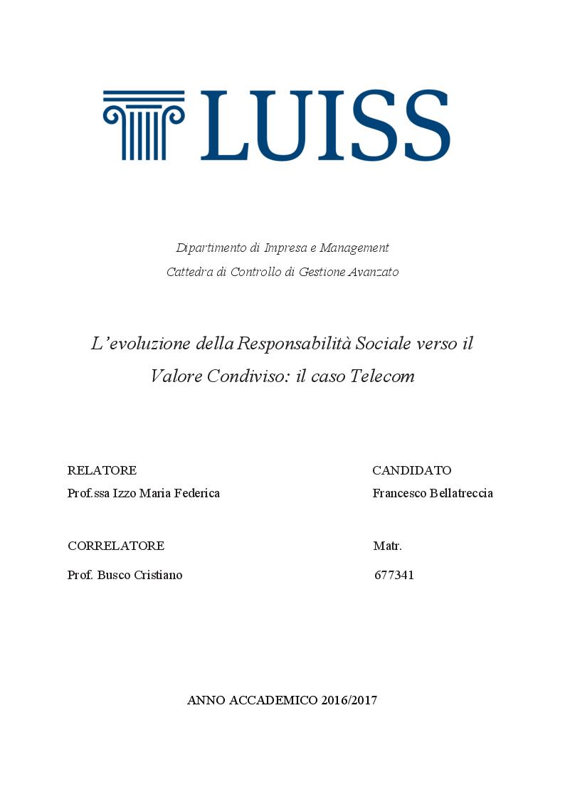 Anteprima della tesi: L'evoluzione della Responsabilità Sociale verso il Valore Condiviso: il caso Telecom, Pagina 1