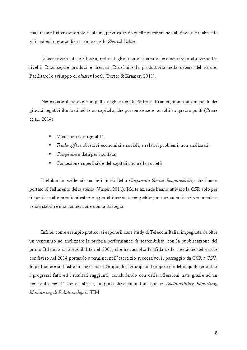 Anteprima della tesi: L'evoluzione della Responsabilità Sociale verso il Valore Condiviso: il caso Telecom, Pagina 4
