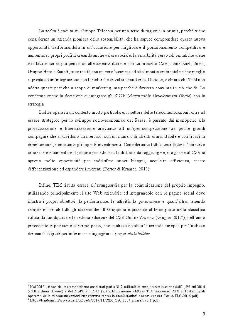 Anteprima della tesi: L'evoluzione della Responsabilità Sociale verso il Valore Condiviso: il caso Telecom, Pagina 5