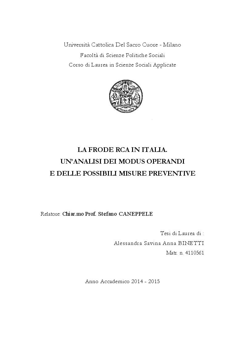 Anteprima della tesi: La frode Rca in Italia. Un'analisi dei modus operandi e delle possibili misure preventive, Pagina 1