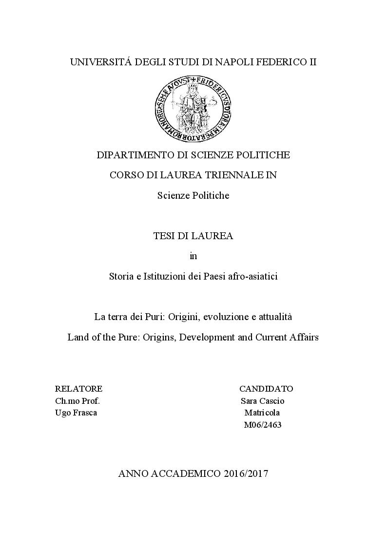 Anteprima della tesi: La terra dei Puri: Origini, evoluzione e attualità, Pagina 1